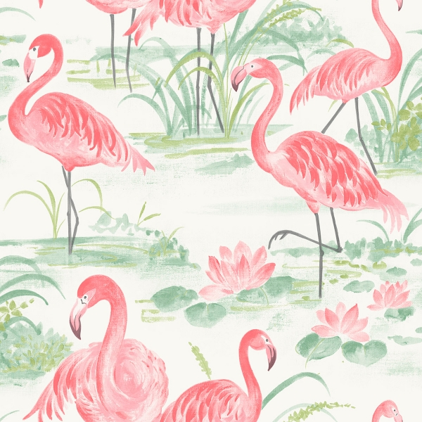 Picture of Pink Flamingo Beach Peel and Stick Wallpaper