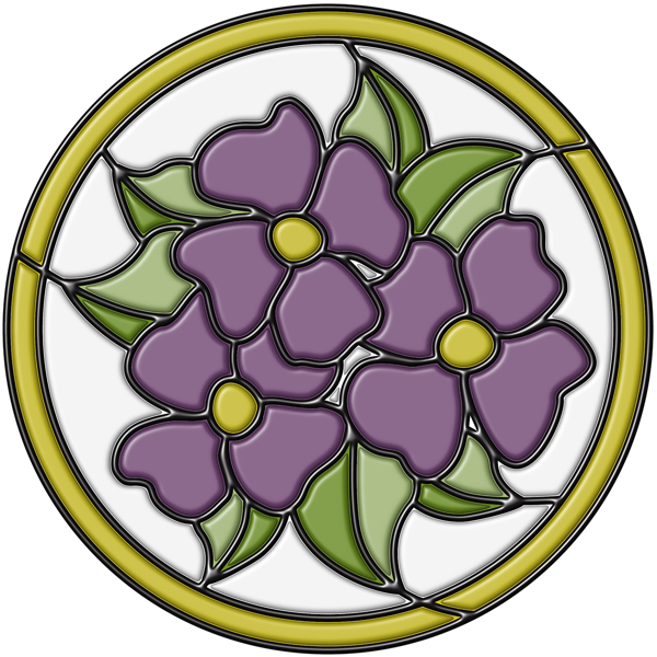 Picture of Amethyst Pansy Medallion Stained Glass