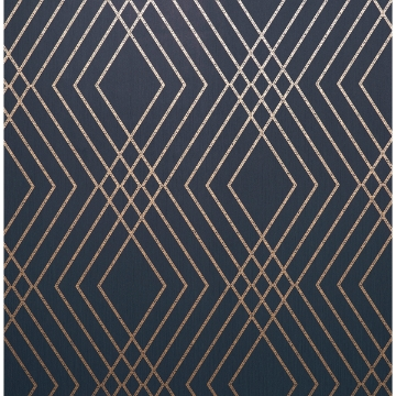 Picture of Shard Navy Trellis Wallpaper