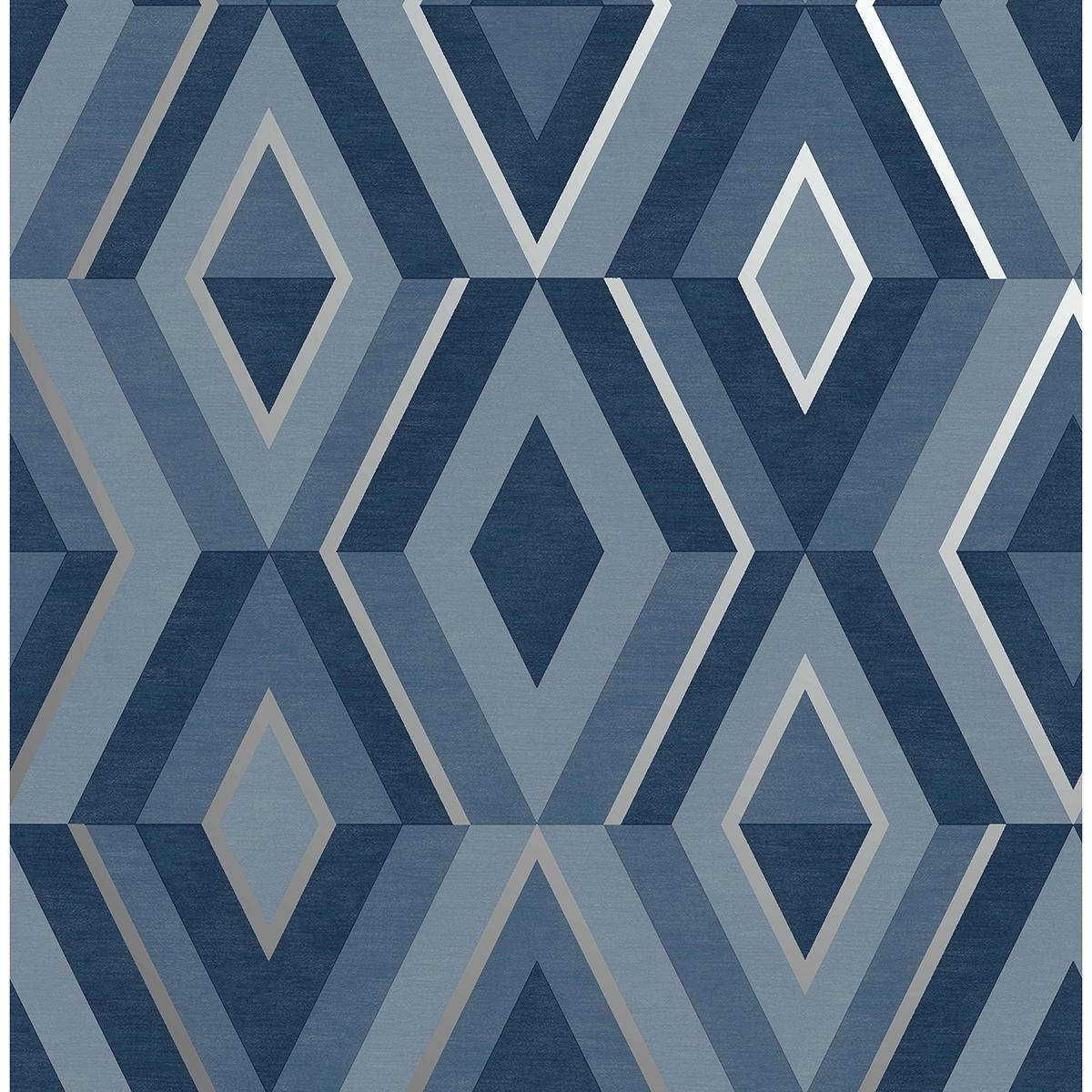 FD42608 - Shard Blue Geometric Wallpaper - by Fine Decor