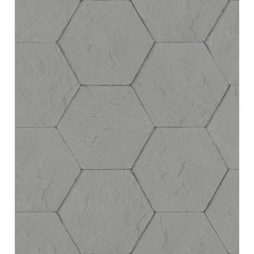 Picture of Bascom Dark Grey Stone Hexagon Wallpaper
