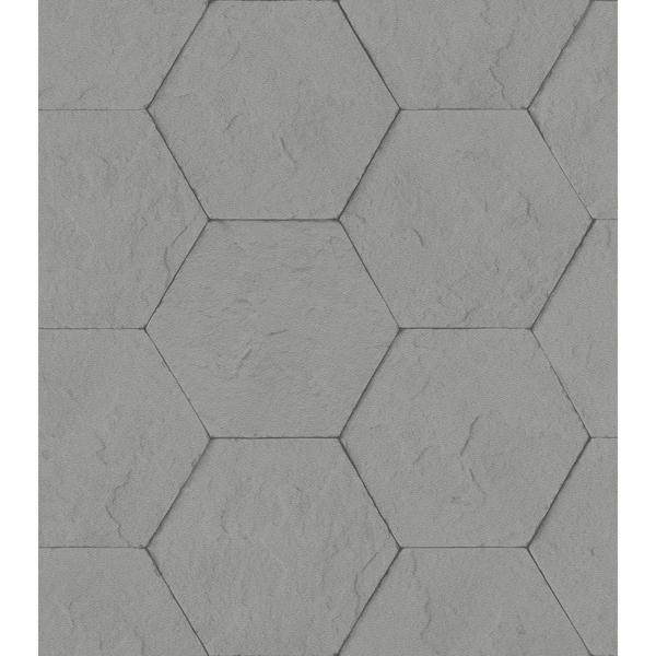 Picture of Bascom Dark Grey Stone Hexagon Wallpaper