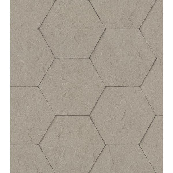 Picture of Bascom Light Grey Stone Hexagon Wallpaper