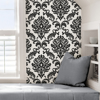 Picture of Ariel Black and White Damask Peel And Stick Wallpaper