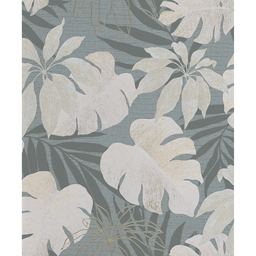 Picture of Nona Grey Tropical Leaves Wallpaper