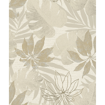 Picture of Nona Beige Tropical Leaves Wallpaper