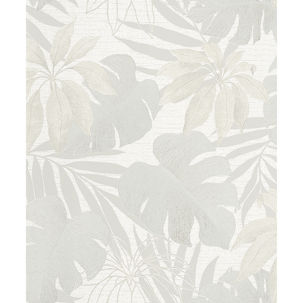Picture of Nona Cream Tropical Leaves Wallpaper