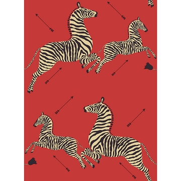 Picture of Masai Red Zebra Safari Scalamandre Self Adhesive Wallpaper