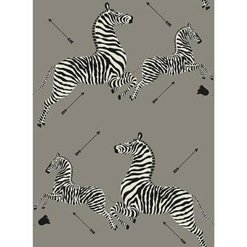 Picture of Grey Zebra Safari Scalamandré Self Adhesive Wallpaper