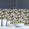 Picture of Charcoal Balinese Peacock Scalamandré Self Adhesive Wallpaper