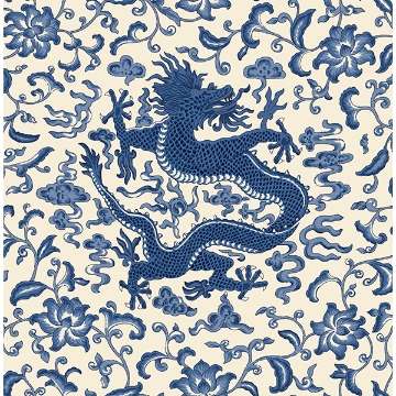 Picture of Indigo Chi'en Dragon Scalamandré Self Adhesive Wallpaper