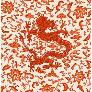 Picture of Persimmon Chien Dragon Scalamandré Self Adhesive Wallpaper