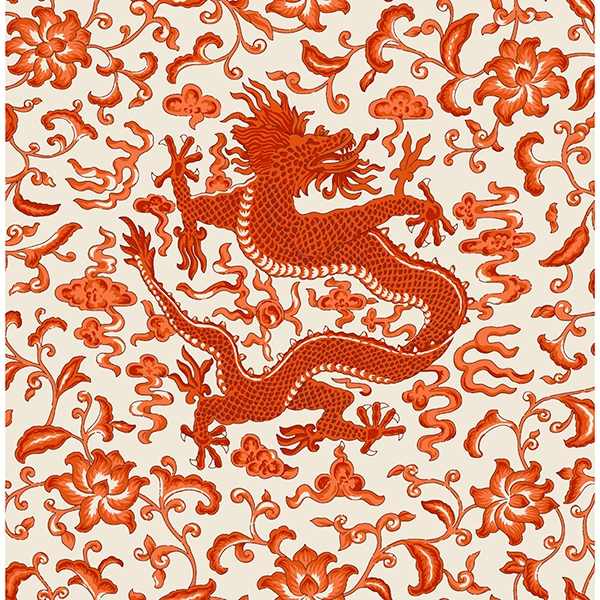 Picture of Persimmon Chi'en Dragon Scalamandré Self Adhesive Wallpaper