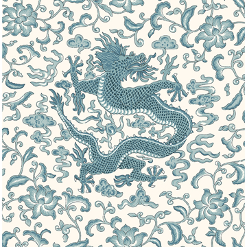 Picture of Peacock Chi'en Dragon Scalamandré Self Adhesive Wallpaper