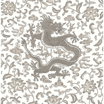 Picture of Grey Chi'en Dragon Scalamandré Self Adhesive Wallpaper