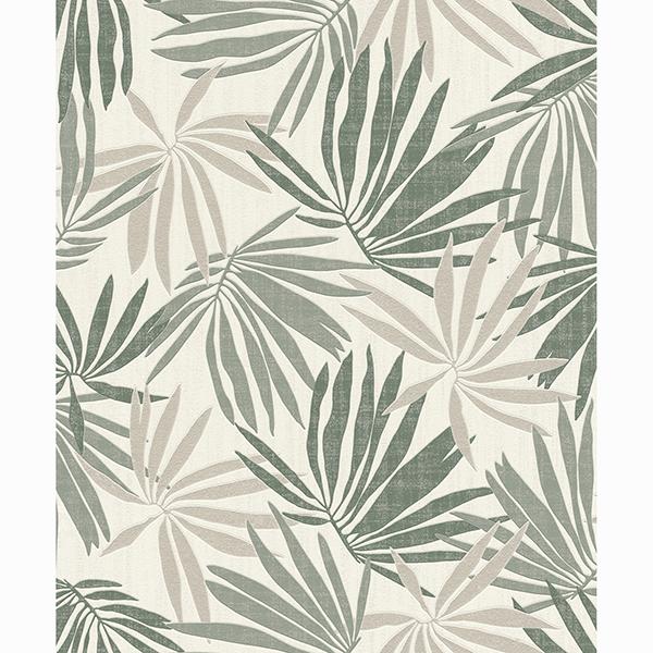 Picture of Khmunu Grey Palm Leaf Wallpaper