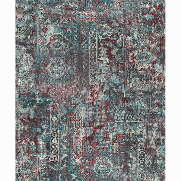 Picture of Hamadan Teal Textile Wallpaper