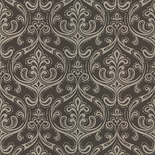 Picture of Anastaise Dark Brown Ogee Damask Wallpaper