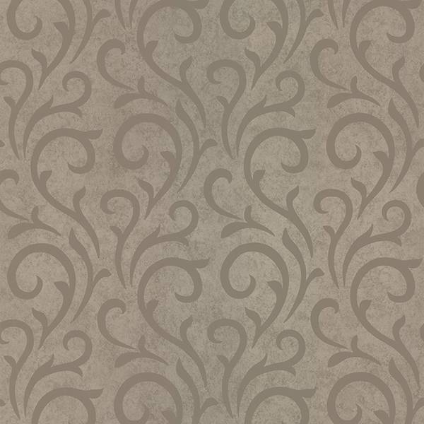 Picture of Ophelia Taupe Scroll Wallpaper