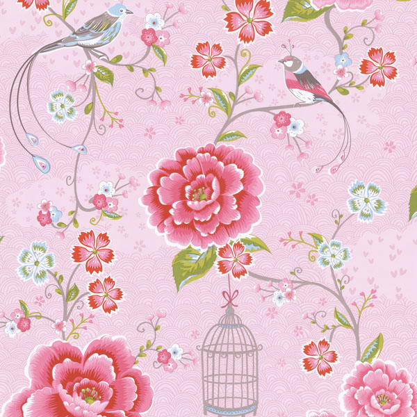 Picture of  Pink Floral Birds Trail Wallpaper