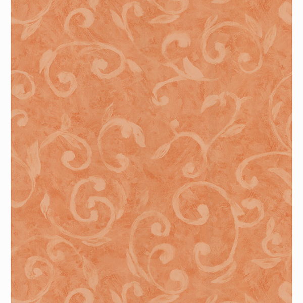 Picture of Sprout Orange Scroll Wallpaper
