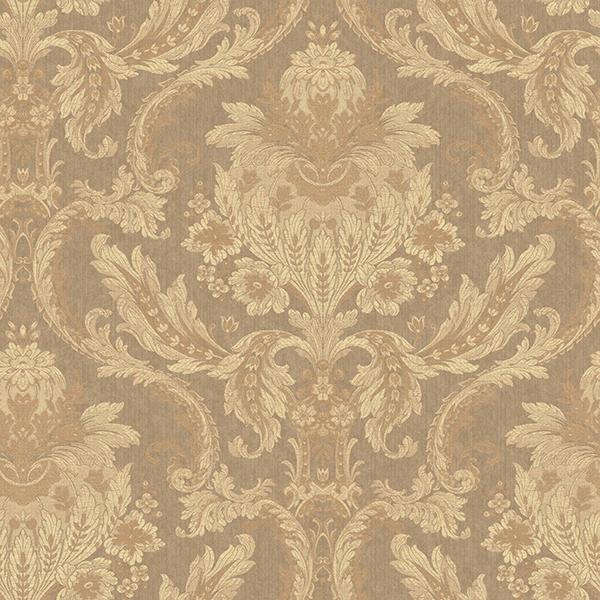 Picture of Elegant Brown Damask Wallpaper