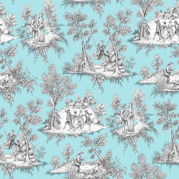 Picture of Rutland Turquoise Toile De Jouy Wallpaper