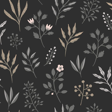 Picture of Cynara Charcoal Scandinavian Floral Wallpaper