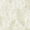 Picture of Canales White Gold Inked Leaves Wallpaper