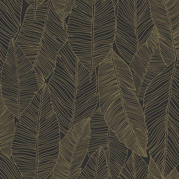 Picture of Canales Black Gold Inked Leaves Wallpaper