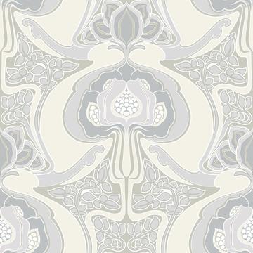 Picture of Joaquin Light Grey Art Nouveau Floral Wallpaper