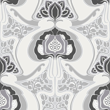 Picture of Joaquin Black Art Nouveau Floral Wallpaper