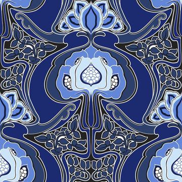 Picture of Joaquin Blue Art Nouveau Floral Wallpaper