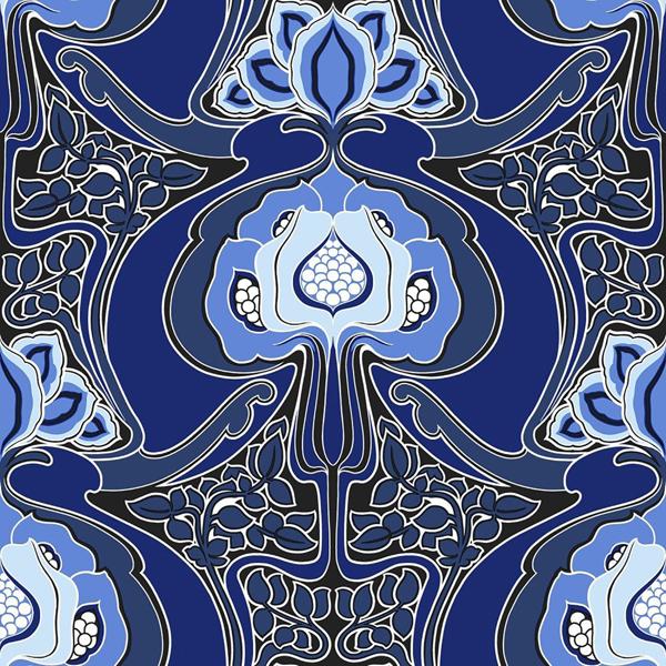 Picture of Joaquin Blue Art Nouveau Floral Wallpaper