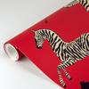 Picture of Masai Red Zebra Safari Scalamandre Self Adhesive Wallpaper