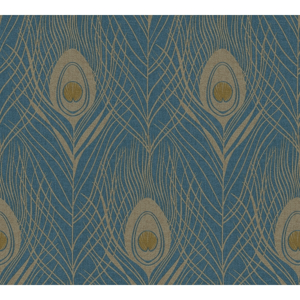 Picture of Prosperity Blue Feather Wallpaper