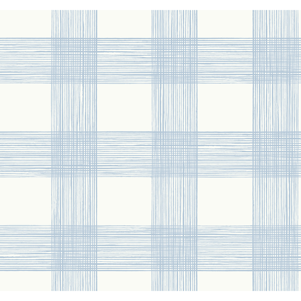 Picture of Scarborough Light Blue Striated Plaid Wallpaper