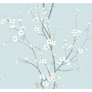 Picture of Monterey Sky Blue Floral Branch Wallpaper