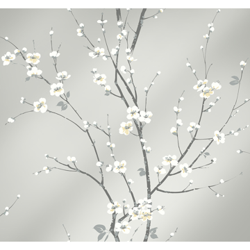 Picture of Monterey Silver Mist Floral Branch Wallpaper