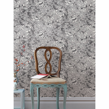 Picture of Beaufort Silver Peony Chinoiserie Wallpaper
