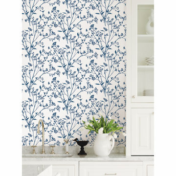 Picture of Southport Indigo Delicate Branches Wallpaper