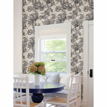Picture of Carmel Black Baroque Florals Wallpaper