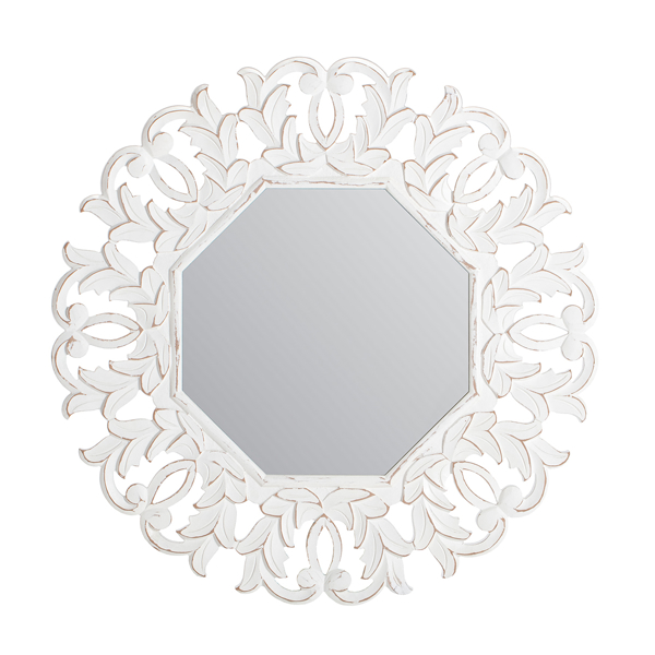 Picture of Tull White Carved Octagonal Mirror