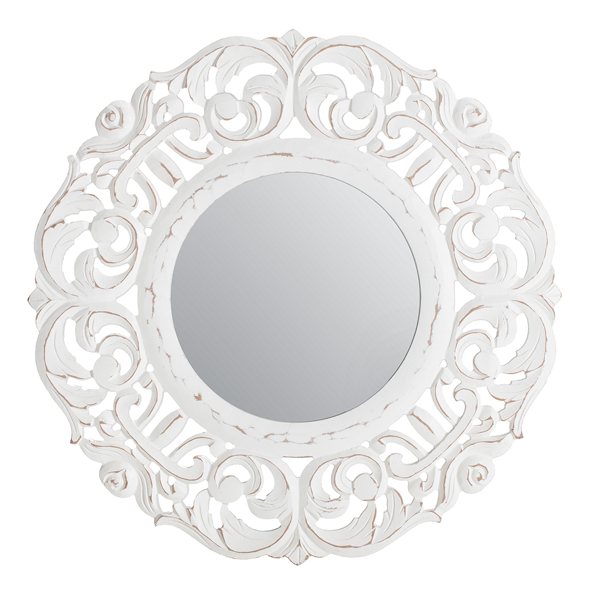 Picture of Temora White Carved Mirror