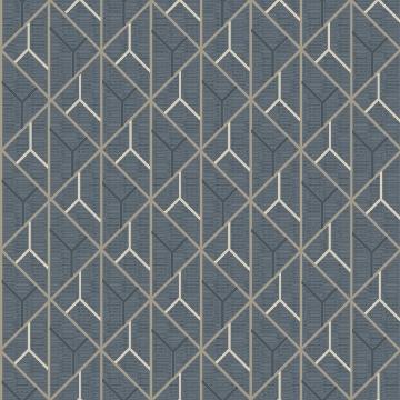 Picture of Wilder Blue Geometric Trellis Wallpaper