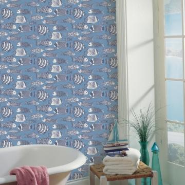 Picture of Wailea Sky Blue Tropical School Wallpaper
