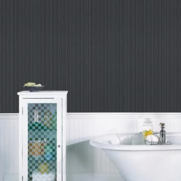 Picture of Sebasco Black Vertical Pinstripe Wallpaper