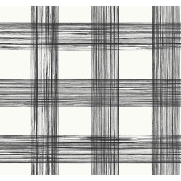 Picture of Scarborough Black Striated Plaid Wallpaper