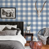 Picture of Scarborough Indigo Striated Plaid Wallpaper