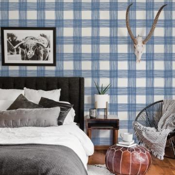 Picture of Scarborough Indigo Striated Plaid Wallpaper